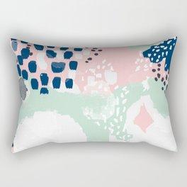Ostara - minimal abstract painting trendy navy mint and pink pastels acrylic large minimalist Rectangular Pillow