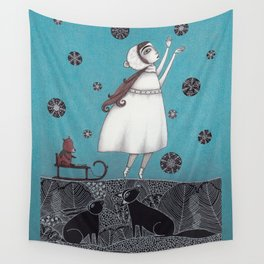 Between the Woods and Frozen Lake Wall Tapestry