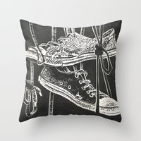 converse Throw Pillows featuring Converse by JOHNSAWVEL