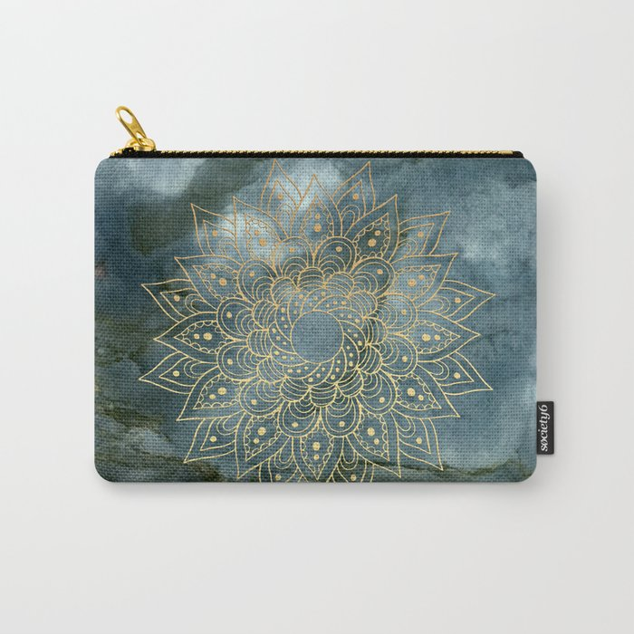 MANDALA ON BLUE MARBLE Carry-All Pouch