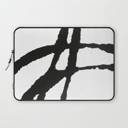 0523: a simple, bold, abstract piece in black and white by Alyssa Hamilton Art Laptop Sleeve
