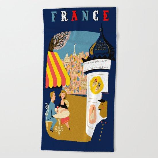 Vintage France Sidewalk Cafe Travel Beach Towel