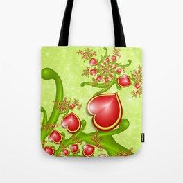 Red Hearts Fractal Tote Bag