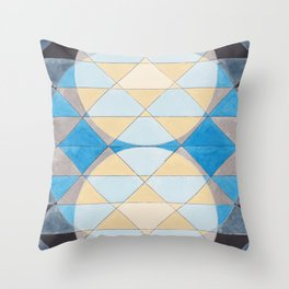 Triangle Pattern No. 14 Circles in Black, Blue and Yellow Throw Pillow