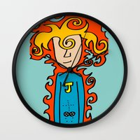 super hero Wall Clocks featuring Joe Pansa Super Hero by Joe Pansa