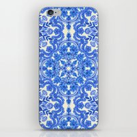 folk iPhone & iPod Skins featuring Cobalt Blue & China White Folk Art Pattern by micklyn