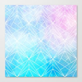 Geometric White Pattern on Watercolor Background Canvas Print