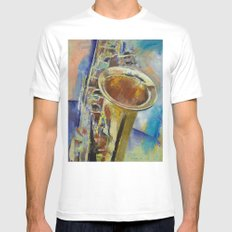Saxophone Mens Fitted Tee White MEDIUM