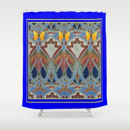 Ornate blue & Yellow Art Nouveau Butterfly Red Designs Shower Curtain