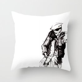 Off-Centered Kiss Throw Pillow