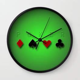 casino card game green poker gradient stripes background Wall Clock