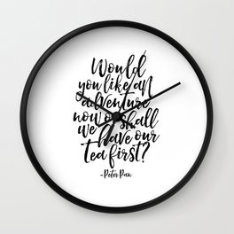 petter pan quote,kids room decor,nursery decor,kids gift,children wall decal,typography poster Wall Clock
