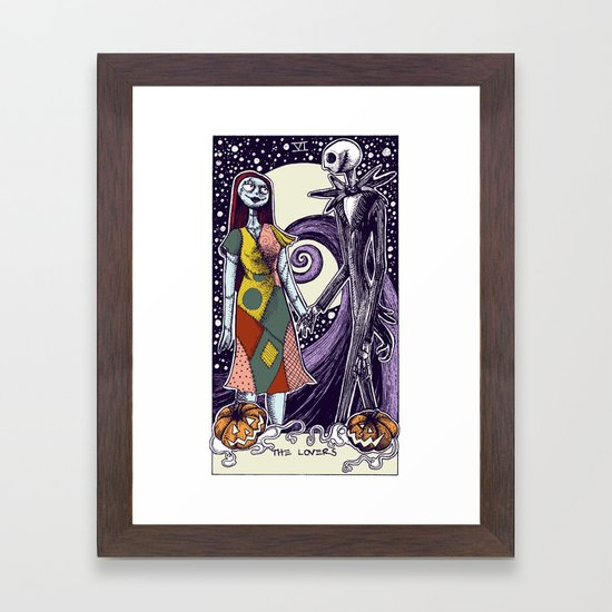 The Nightmare Before Christmas The Lovers Tarot Card Color Framed ...