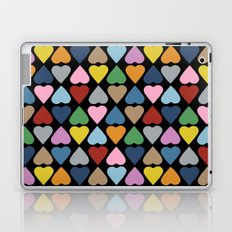 Diamond Hearts on Black Laptop & iPad Skin