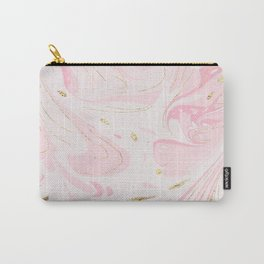 Modern faux gold glitter pastel pink elegant marble Carry-All Pouch