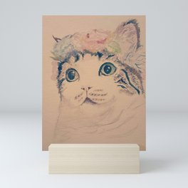 Cat Flower Crown Mini Art Print