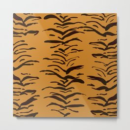 Tiger Skin Watercolor Pattern Metal Print