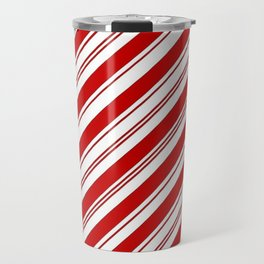 winter holiday xmas red white striped peppermint candy cane Travel Mug