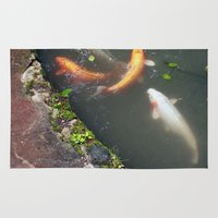 koi fish Area & Throw Rugs featuring Koi Fish by Elizabeth Boyajian