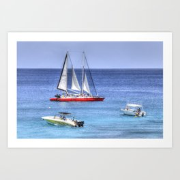 Barbados Blue Sea Catamaran Art Print