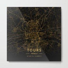 Tours, France - Gold Metal Print