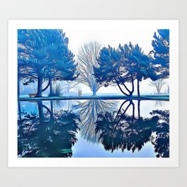 Blue Lake Reflection Airbrush Artwork Art Print