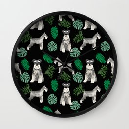 Schnauzer summer monstera tropical pure breed dog gifts Wall Clock