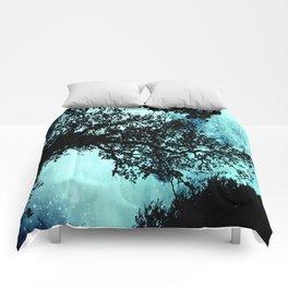 Black Trees Elegant Aqua Space Comforters