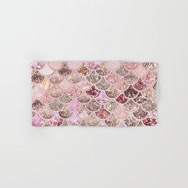 Rose Gold Blush Glitter Ombre Mermaid Scales Pattern Hand & Bath Towel