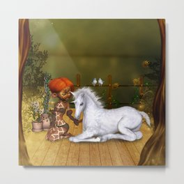 Little fairy with unicorn foal Metal Print