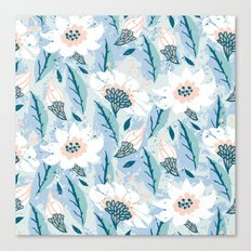 Hand drawn pattern with white flowers Canvas Print