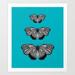 Butterflies on Teal Art Print