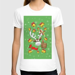 Reindeer Christmas Character with Face Mask T-shirt