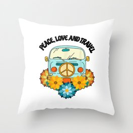 Peace love and travel with a surfer bus Throw Pillow