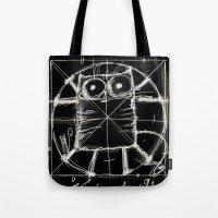 da vinci Tote Bags featuring Kot da Vinci (black) by Katja Main