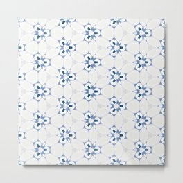 Blue White Abstract Pattern Metal Print