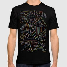 Ab Linear Rainbow Black Mens Fitted Tee Black MEDIUM