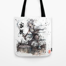 Samurai Girl with Japanese Calligraphy - Family - Ciri Parody Tote Bag