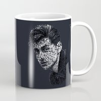 alex turner Mugs featuring Typo-songs Alex Turner by Daniac Design