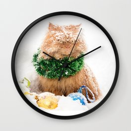 Doll face Persian cat in snow with Christmas ornaments Wall Clock