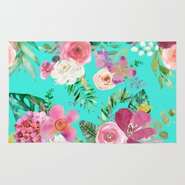 Summer Tropical Floral Bouquet in Turquoise Rug