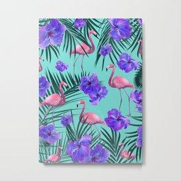 Tropical Flamingo Hibiscus Pattern #2 #tropical #decor #art #society6 Metal Print