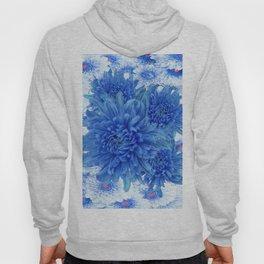 Oriental Style  Blue Chrysanthemums Garden Floral Pattern Hoody