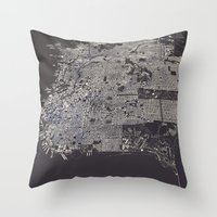 san francisco map Throw Pillows featuring San Francisco City Map by Luis Dilger