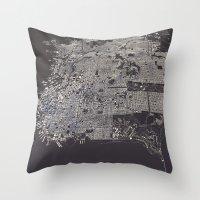 san francisco map Throw Pillows featuring San Francisco City Map by maptastix