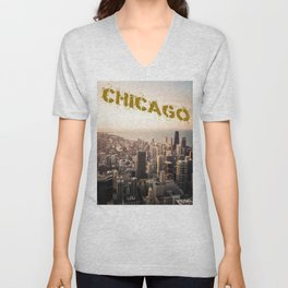 Chicago Skyline over Lake Michigan with text Unisex V-Neck