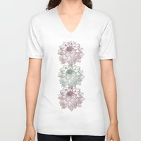 peonies V-neck T-shirts featuring Peonies by Zen and Chic