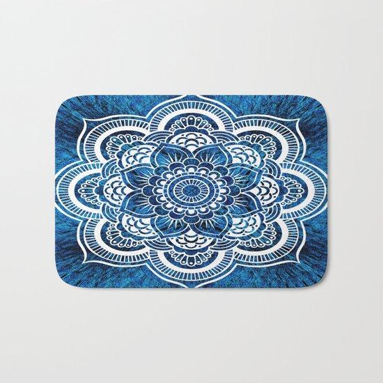Mandala Cerulean Blue Colorburst Bath Mat