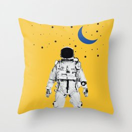 Astronaut Portrait on a Yellow Background Throw Pillow