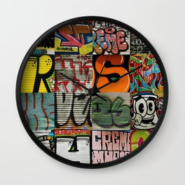 grafitti collage Wall Clock